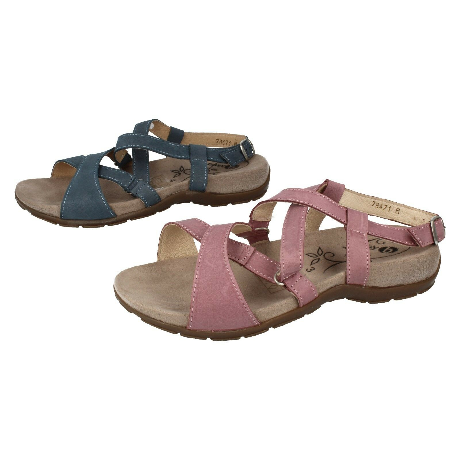 Ladies Sky bluee   pink Easy B Leather Open Toe Casual Summer Sandals Nancy