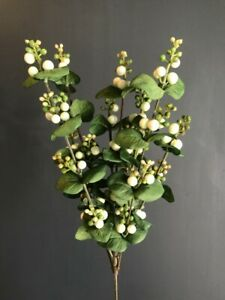Artificial White Snow Berry Spray With Leaves Bunch Of Faux Snowberries Ebay
