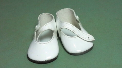 leather pair of doll shoes pat Puppenschuhe aus Kunstleder weiss 7,1 cm