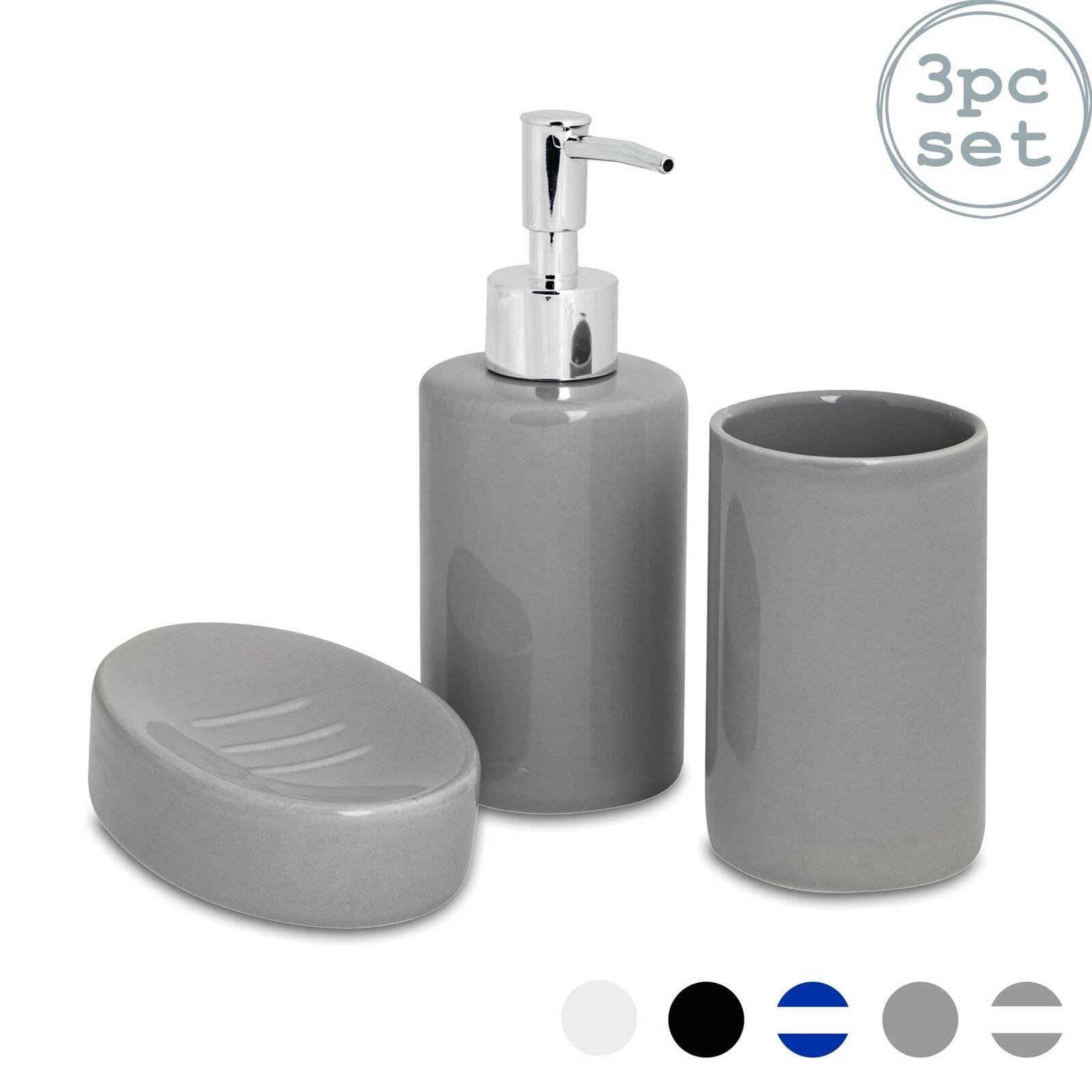 Bathroom Accessory Set, 3 pcs - Soap Dispenser, Dish & Tumbler - Grey