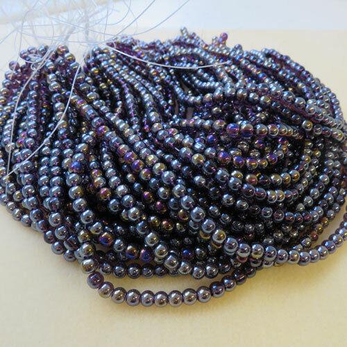 20 Strands of purple 6mm round glass fire polished beads jewellery making UK