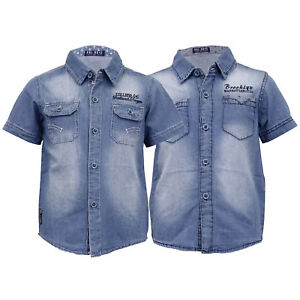 f28ed3fc Image is loading Boys-Denim-Shirt-Kids-Short-Sleeved-Faded-Collared-