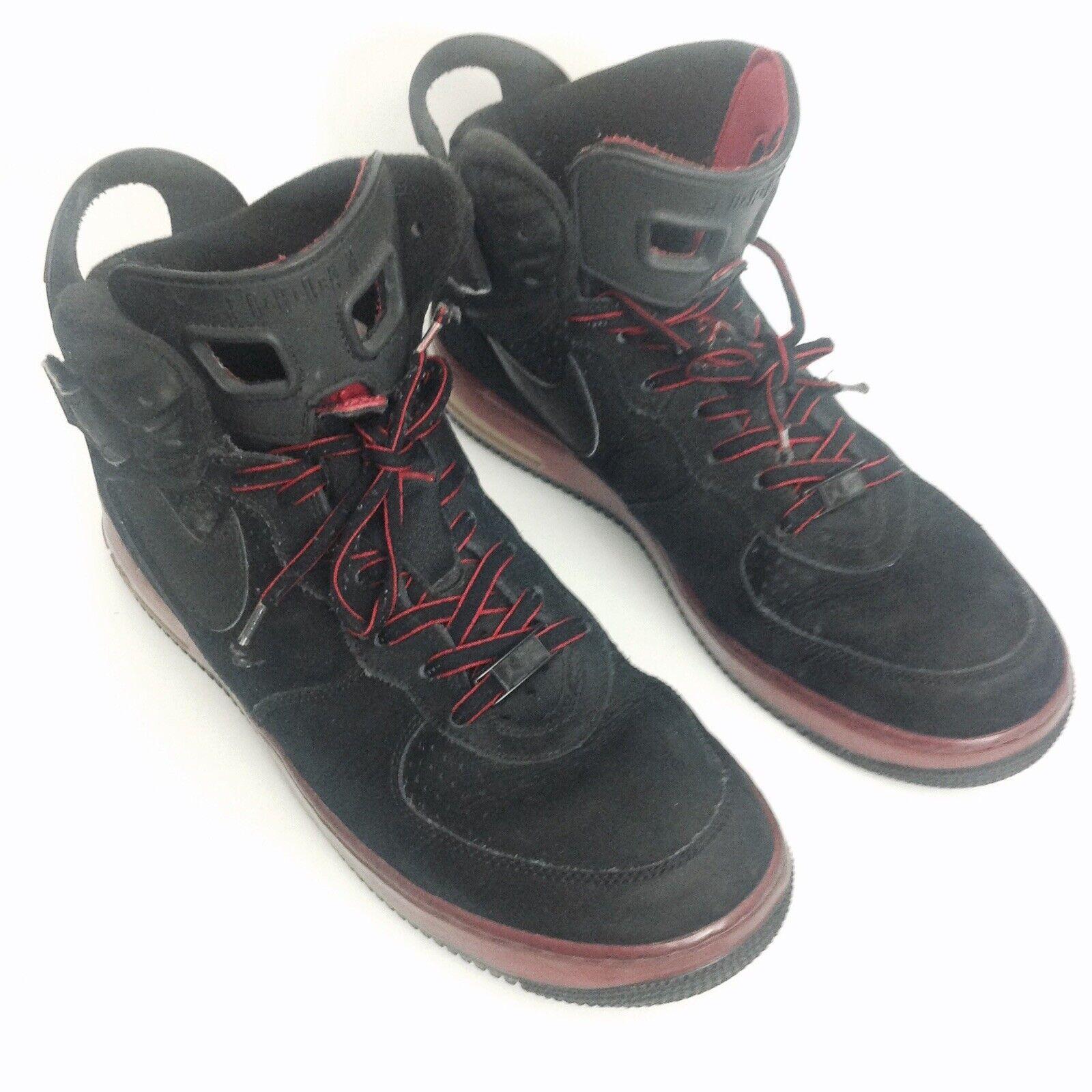 NIKE AIR JORDAN FUSION 6 BLACK VARSITY RED SUEDE SHOES 343064-062 SIZE 10.5