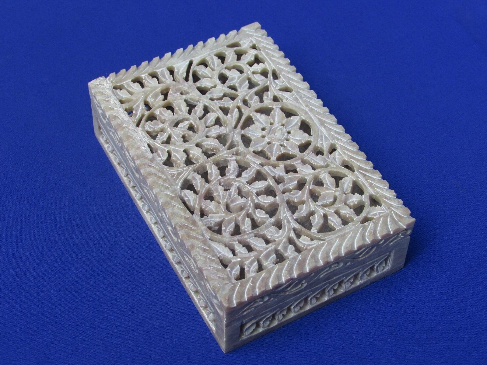 Marble Jewelry Box  Carving  Handmade  Floral Design Home Decor and Gift