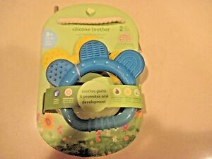 Green-Sprouts-Silicone-2-Teether-039-s-One-Yellow-One-Blue-3-Plus-Months-New