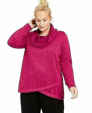 Ideology Women/'s Sweater Pink Cowl Neck L//S Cozy Tunic Fleece Pullover NWT