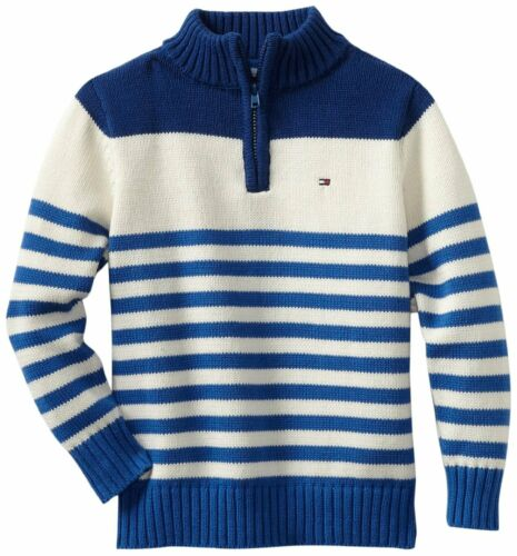 New Tommy Hilfiger Boys 1//4 Zip Blue//White Striped Sweater NWT M L XL