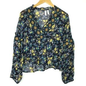 Anthropologie-Meadow-Rue-Strasser-Floral-Embroidered-Peasant-Blouse-Womens-Small