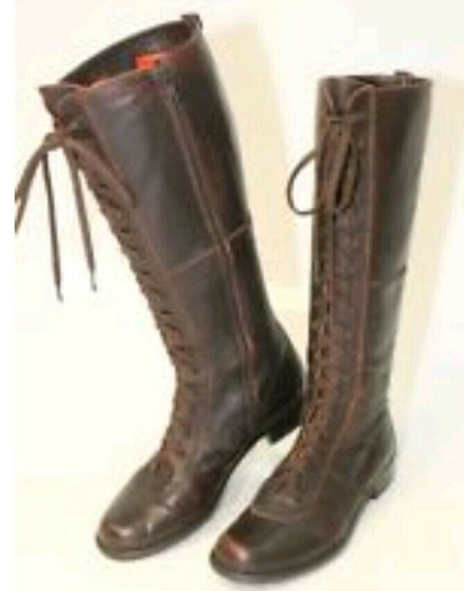 Stuart Weitzman Lace Up Granny Brown LTHR Knee High Boot Size 6 Made in Spain
