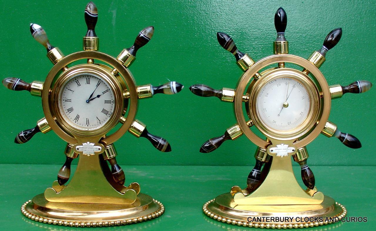 Howell James & Achat Co antik Ormolu Maritim Marine Nabel Achat & Uhr Barometer bf00ef