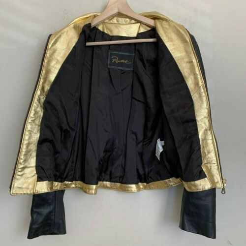 Rosenthal Leather Jacket Black Gold White Military Double Breasted Lined Size M
