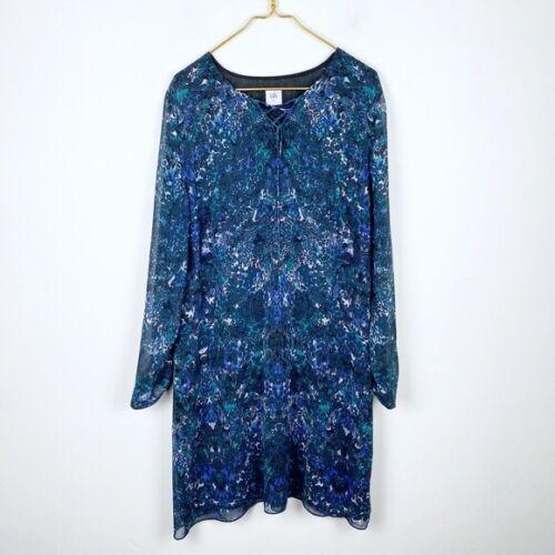 Cabi Noel Printed Chiffon Long Sleeve Shift Dress