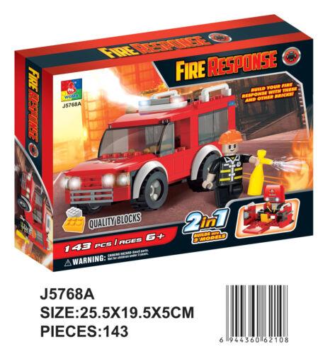 Woma kleines Feuerwehr Auto 2 in 1 Bausteine Set 143 Teile J5768A