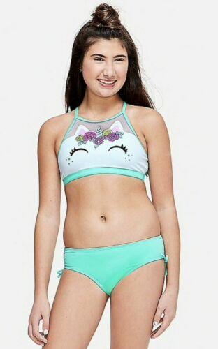 NWT JUSTICE Girls Size 14 UNICORN High Neck Bikini Swimsuit Set