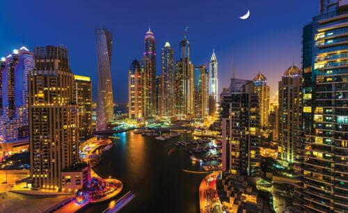 Fototapete Tapete Wandbild Vlies F00887 Dubai Wolkenkratzer bei Nacht Wandtattoo