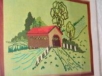 Wonderart Covered Bridge Stitchery Crewel In Package Wonder Art Vintage