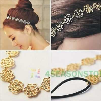 Fashion Metal Chain Hollow Rose Flower Elastic Hair Band Womens Headband Jewelry