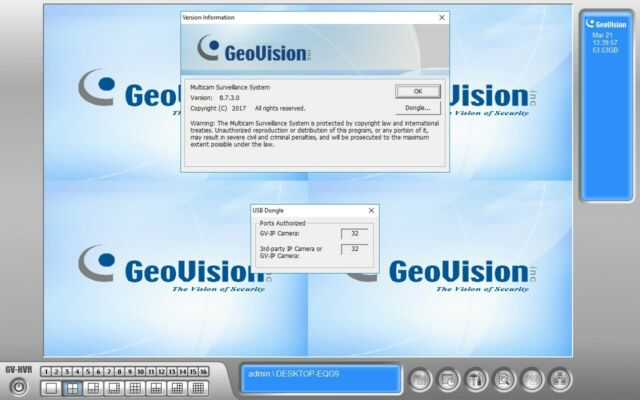 Geovision 2CH 3rd Party IP Camera NVR Software License with USB Dongle