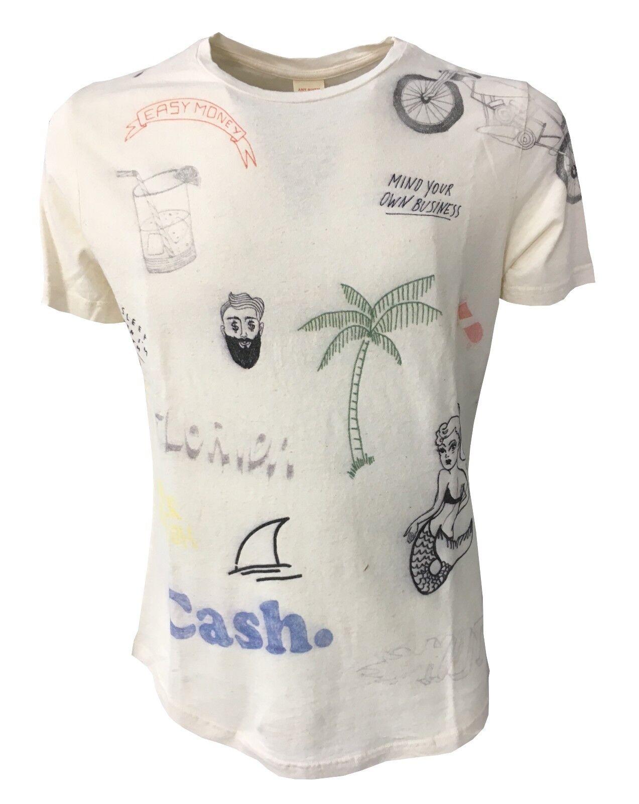 VINTAGE 55 T-Shirt Herren Elfenbeinfarbe / Mehrfarben 60% Baumwolle 40% Leinen