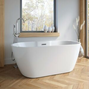 1555mm Modern Freestanding Bath Double Ended Overflow Waste White Acrylic Luxury