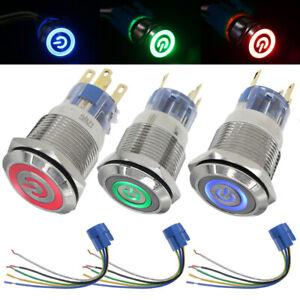Drucktaster Taster Tastend Durchmesser Ø22mm LED Ring beleuchtet 12V schwarz