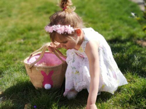 Osterkörbchen /Ostertasche aus Jute / Baumwolle mit Hase Aufdruck Pink