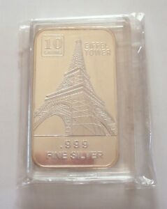 USA-10-gram-999-Fine-Silver-Commemorative-Bullion-039-Eiffel-Tower-039-Sealed-amp-UNC