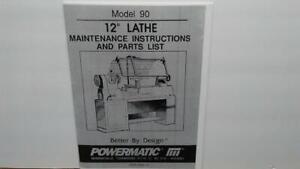 "Powermatic 90 12"" Lathe Maintenance & Parts Manual Metal Fabrication"