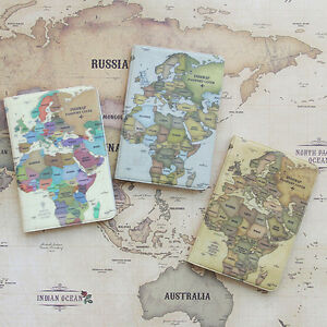 Vintage style world map passport holder cover travel wallet card image is loading vintage style world map passport holder cover travel gumiabroncs Gallery