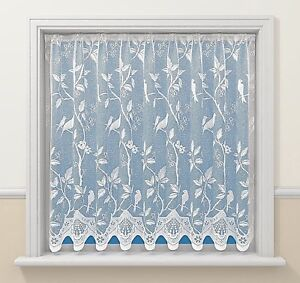 VICTORIAN-DELICATE-SONG-LOVE-BIRDS-WHITE-LACE-NET-CURTAIN-SOLD-BY-THE-METRE