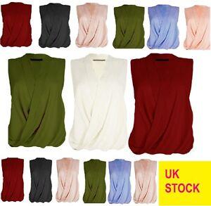 21686b3f6 Image is loading Womens-ladies-sleeveless-blouse-chiffon-v-neck-wrap-