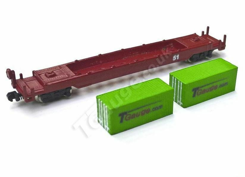 T Gauge 20' Container Wagon Set (Green) 04620-G