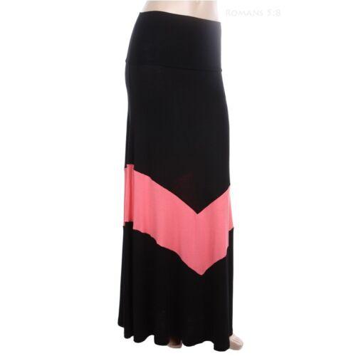 Mono Chevron Print Fold Over Waistband Full Length Flare Maxi Skirt Casual S M L