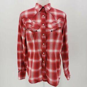 Vintage-Tru-West-Rockmount-Ranch-Wear-Red-amp-White-Plaid-Shirt-Women-039-s-Large