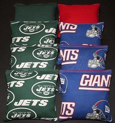All Weather CORNHOLE BEANBAGS made w NEW YORK JETS Fabric ACA Reg Bags