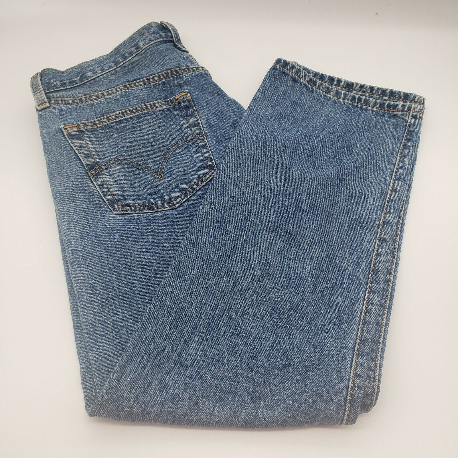 Levis 501 Button-Fly Mens 35x30 Well Worn Faded D… - image 4