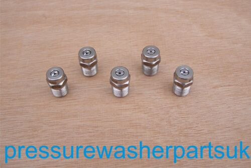 """Pressure Washer Stainless Steel Nozzle 1//4/"""" 5er Pack 40 ° Size 2-10"""