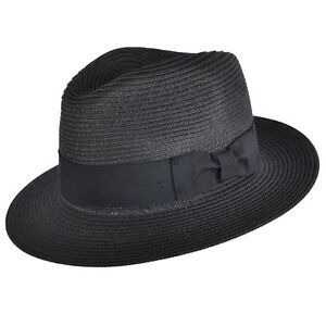 Mens Ladies Black Packable Straw Summer Panama Fedora Hat ...