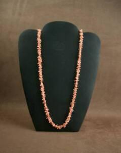 Schoen-Lang-Halskette-Antik-in-Koralle-Rosa-amp-Verschluss-Gold-18K-Poincon-Kopf