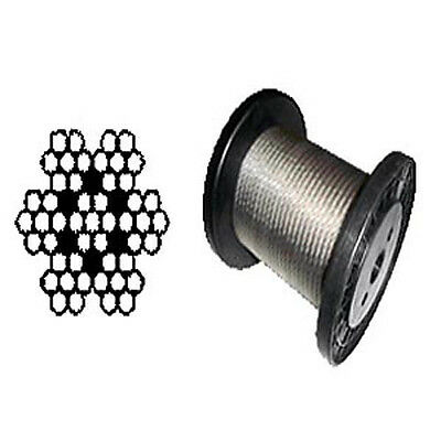 """T-304 Grade 7 x 7 Stainless Steel Cable Wire Rope 1/8""""- 500 ft"""