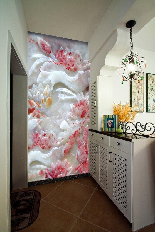 3D Jade Fleur 12 Photo Papier Peint en Autocollant Murale Plafond Chambre Art