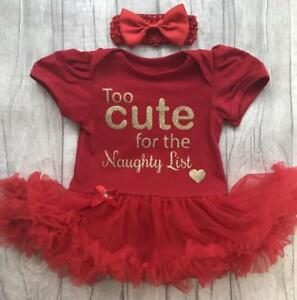 f09b01fdcb3e Image is loading NEWBORN-CHRISTMAS-TUTU-ROMPER-Gold-Glitter-Too-Cute-