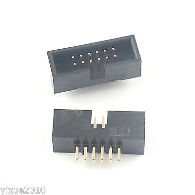 20Pcs 2.54mm 2x6 Pin 12 Pin Right Angle Male Shrouded IDC Box Header Connector