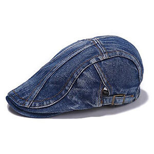 Mens Boys Good Quality Denim Flat Caps in Light   Deep Blue - One ... a6ca87e9bf7