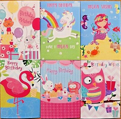 Sensational 6 Pack Of Childrens Girls Kids Birthday Cards Female Childs Funny Birthday Cards Online Alyptdamsfinfo