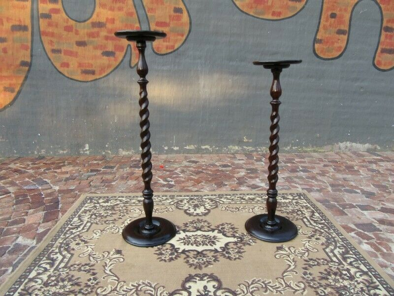 Pair of incredible antique Solid Imbuia Pedestal Stand with exquisite barley twist detailing