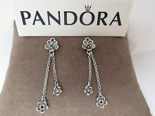 New w/Box Pandora Forever Bloom Black Spinel Floral Compose Earrings 290666SPB