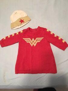 BABY-GAP-JUNK-FOOD-3-6-WONDER-WOMAN-DRESS-amp-HAT-SET
