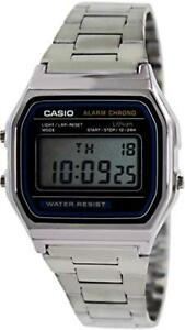 Casio-Men-039-s-Quartz-Digital-Chorno-Silver-Tone-Bracelet-Watch-A158W-1