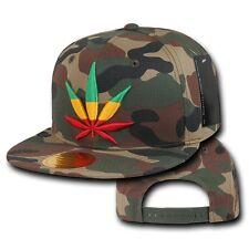 Camo Rasta Weed Leaf Pot Cannabis Marijuana Flat Bill Snapback Baseball Cap Hat